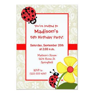 Ladybug on Ecru Paisley Personalized Invitation