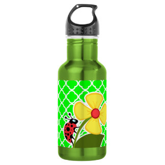 Ladybug on Electric Green Quatrefoil Water Bottle