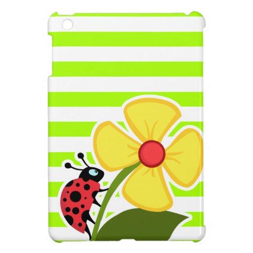 Ladybug on Electric Lime Green Horizontal Stripes Case For The iPad Mini