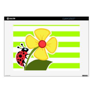 Ladybug on Electric Lime Green Horizontal Stripes Laptop Decal