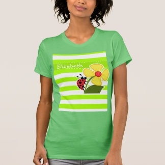 Ladybug on Electric Lime Green Horizontal Stripes T-Shirt