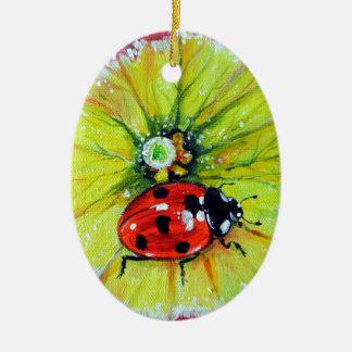 Ladybug on Flower Ceramic Ornament