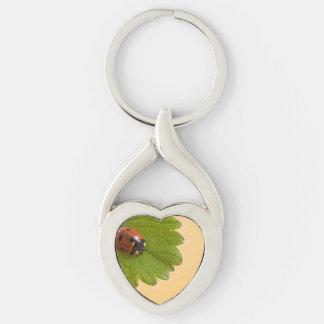 Ladybug on Green Leaf Keychain