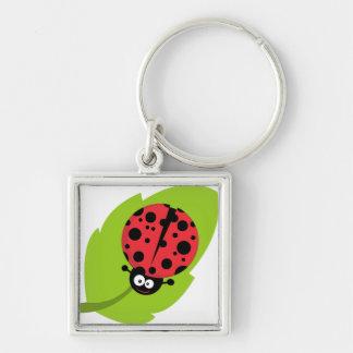 Ladybug on leaf keychain