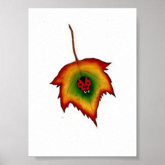 Ladybug on Leaf Posters