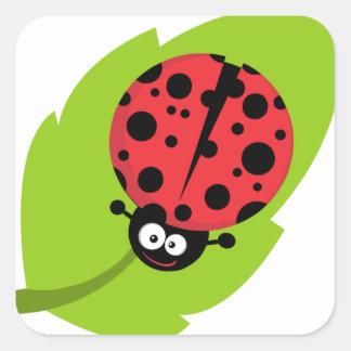 Ladybug on leaf square sticker