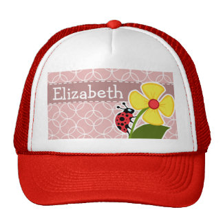 Ladybug on Mauve Circles Trucker Hat