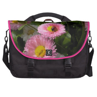 ladybug on pink daisy bag for laptop