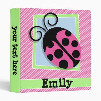 Ladybug on Pink & White Stripes 3 Ring Binder