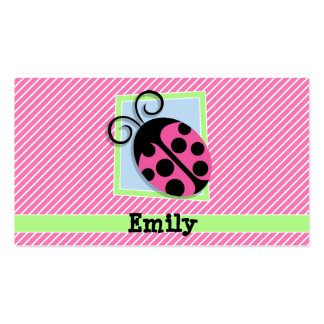 Ladybug on Pink & White Stripes Double-Sided Standard Business Cards (Pack Of 100)