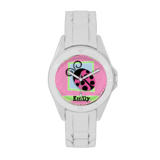 Ladybug on Pink & White Stripes Wristwatch