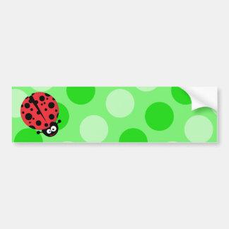 Ladybug on Polka Dots Car Bumper Sticker