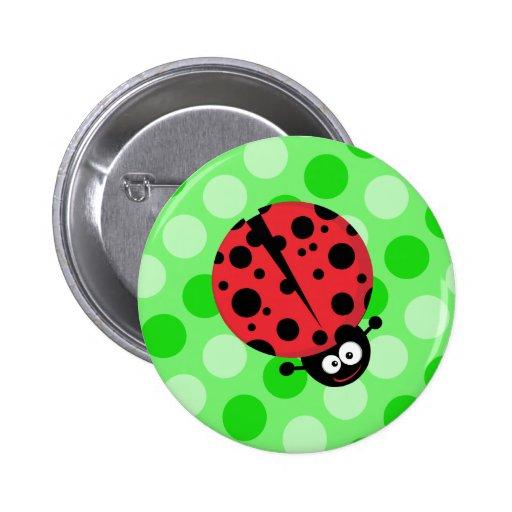 Ladybug on Polka Dots Button