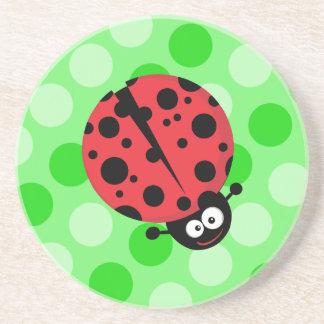 Ladybug on Polka Dots Drink Coaster
