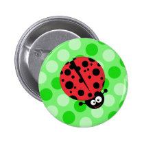 Ladybug on Polka Dots Pinback Button