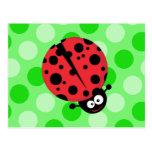 Ladybug on Polka Dots Postcard