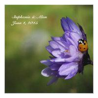 Ladybug on Purple Flower Wedding Invitation (<em>$2.31</em>)
