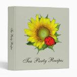 Ladybug on Sunflower Recipe Binder