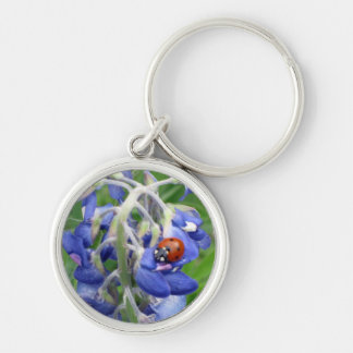 Ladybug on Texas Bluebonnet Silver-Colored Round Keychain