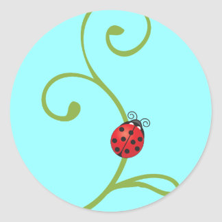 Ladybug on Vine Classic Round Sticker