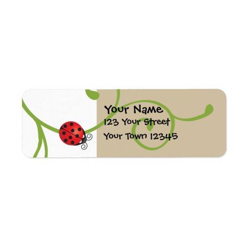 Ladybug on Vine Label