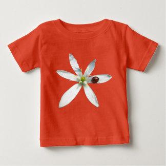 Ladybug on White Flower Baby Jersey T-Shirt