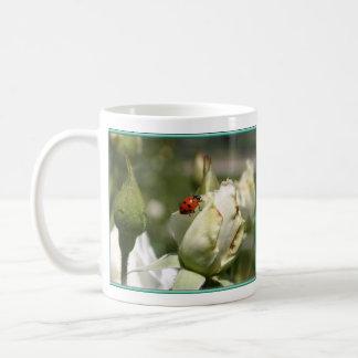 Ladybug on White Rose Buds - Coffee Mug