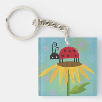 Ladybug on Yellow Flower Keychain