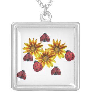 Ladybug Party Square Pendant Necklace