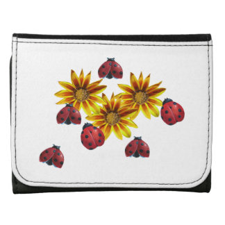 Ladybug Party Leather Trifold Wallet