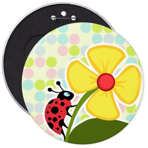Ladybug Pastel Colors, Polka Dot Buttons