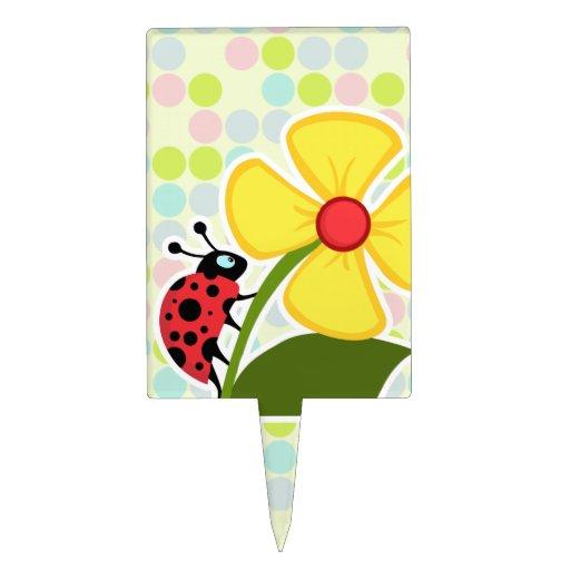 Ladybug Pastel Colors, Polka Dot Cake Topper