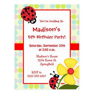 Ladybug Pastel Colors, Polka Dot Postcard