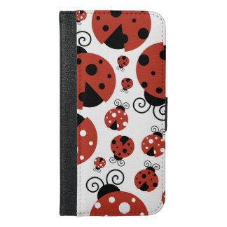 Ladybug Pattern, Ladybirds, Lady Beetles - Red iPhone 6/6s Plus Wallet Case