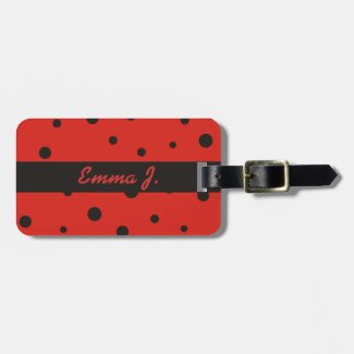 Ladybug Pattern Personalized Name Luggage Tags