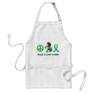 Ladybug Peace Love Hope Green Awareness Ribbon Adult Apron
