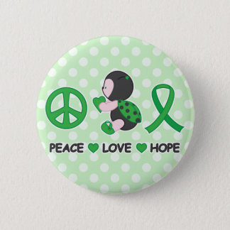 Ladybug Peace Love Hope Green Awareness Ribbon Button