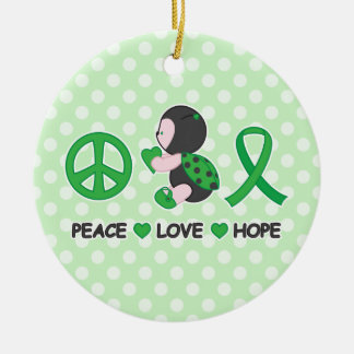Ladybug Peace Love Hope Green Awareness Ribbon Ceramic Ornament