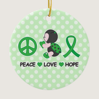 Ladybug Peace Love Hope Green Awareness Ribbon Ceramic Ornament