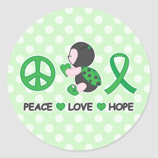 Ladybug Peace Love Hope Green Awareness Ribbon Classic Round Sticker