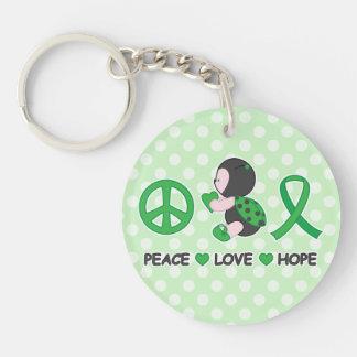 Ladybug Peace Love Hope Green Awareness Ribbon Double-Sided Round Acrylic Keychain