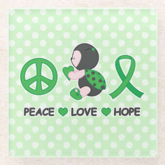 Ladybug Peace Love Hope Green Awareness Ribbon Glass Coaster