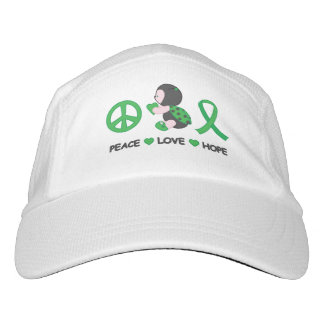 Ladybug Peace Love Hope Green Awareness Ribbon Headsweats Hat