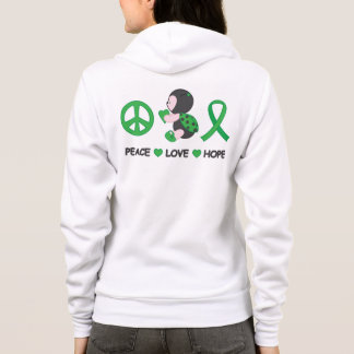 Ladybug Peace Love Hope Green Awareness Ribbon Hoodie