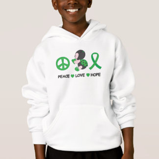 Ladybug Peace Love Hope Green Awareness Ribbon Hoodie