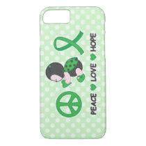 Ladybug Peace Love Hope Green Awareness Ribbon iPhone 8/7 Case