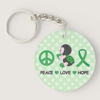 Ladybug Peace Love Hope Green Awareness Ribbon Keychain