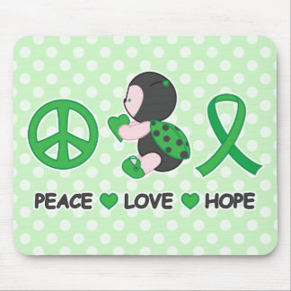 Ladybug Peace Love Hope Green Awareness Ribbon Mouse Pad