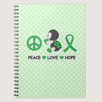 Ladybug Peace Love Hope Green Awareness Ribbon Notebook