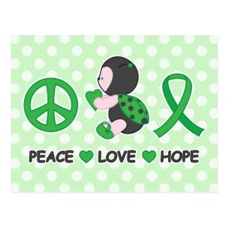 Ladybug Peace Love Hope Green Awareness Ribbon Postcard